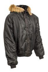 rövid szőrmekapucnis férfi téli kabát