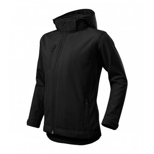 Gyerek fekete színű softshell kabát - 122 cm/6 éves méret