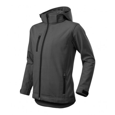 Gyerek acélszürke színű softshell kabát - 122 cm/6 éves méret