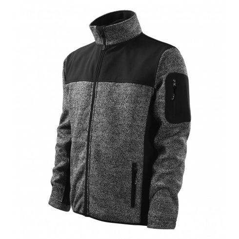 Férfi kötött melanzs szürke színű softshell kabát - S méret