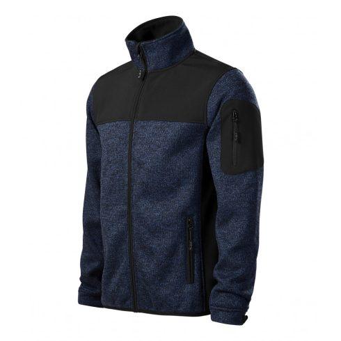 Férfi kötött melanzs kék színű softshell kabát - 2XL méret