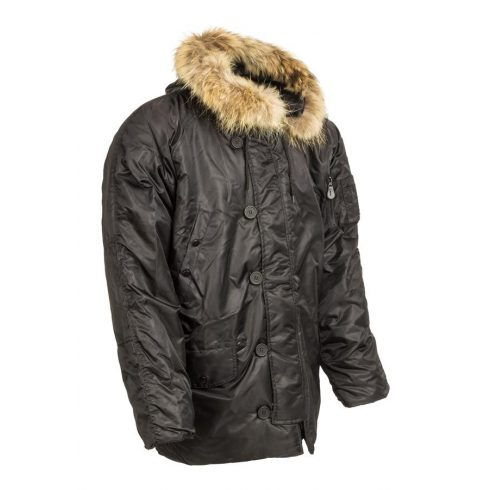 hosszú szőrmekapucnis téli kabát